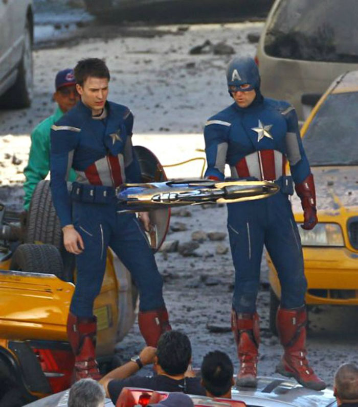 Chris Evans (Captain America) and his stunt double Sam Hargrave