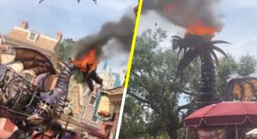 Un dragón se incendió en Disney World durante un desfile y la gente pensó que era parte del show 