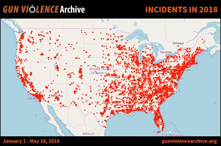 mapa de incidentes con armas Estados Unidos