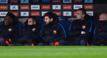 Messi a la banca en la despedida de Iniesta