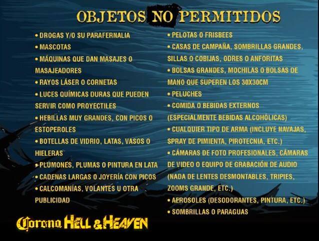 Objetos no permitidos en el Hell & Heaven 2018