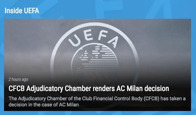 El AC Milán queda fuera de la Europa League