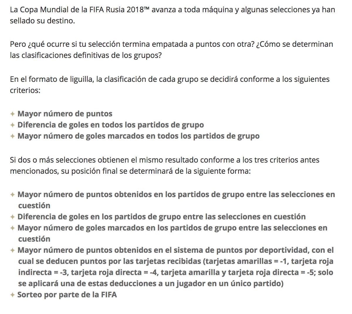 Criterios de Desempate de la FIFA para el Mundial de Rusia 2018