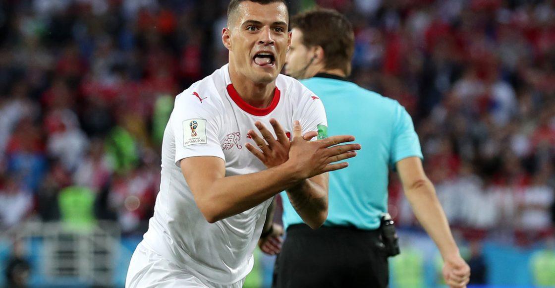 Granit Xhaka festejo de gol contra Serbia Mundial de Rusia 2018