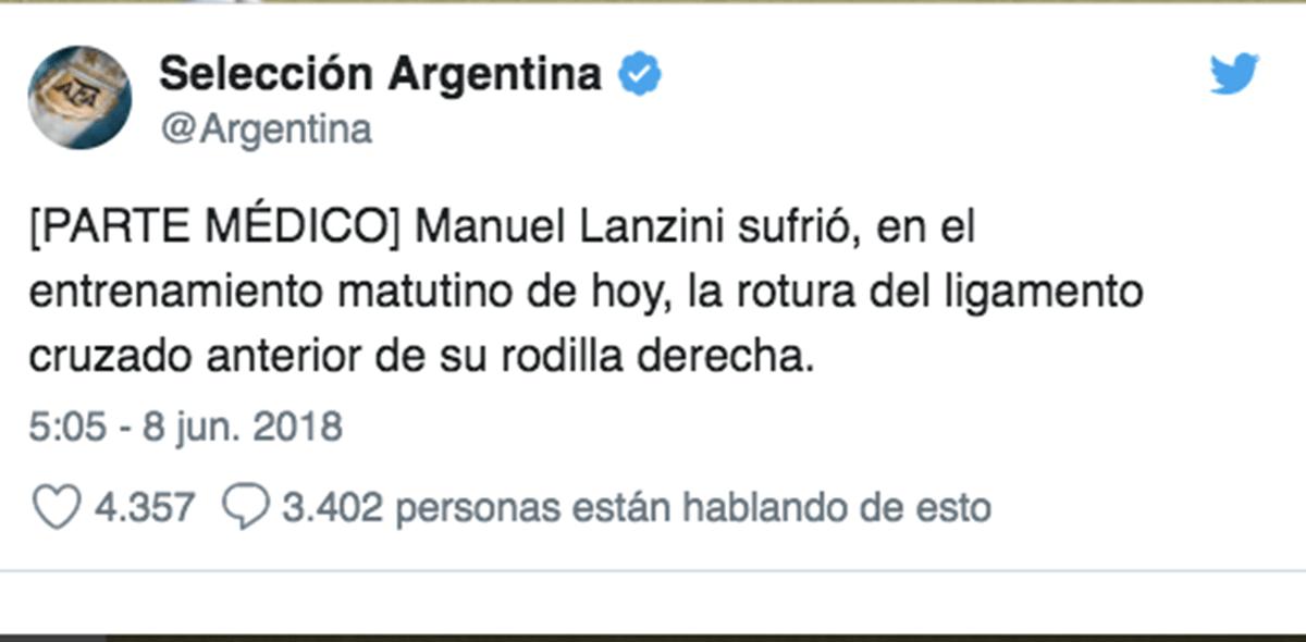 Manuel Lanzini se pierde el Mundial por lesión