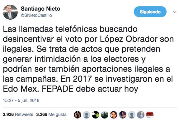Llamada proselitista Santiago Nieto