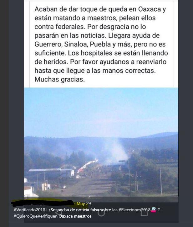 Un mensaje del operativo de 2016 en Nochixtlán, Oaxaca, se difunde como si fuera un enfrentamiento actual