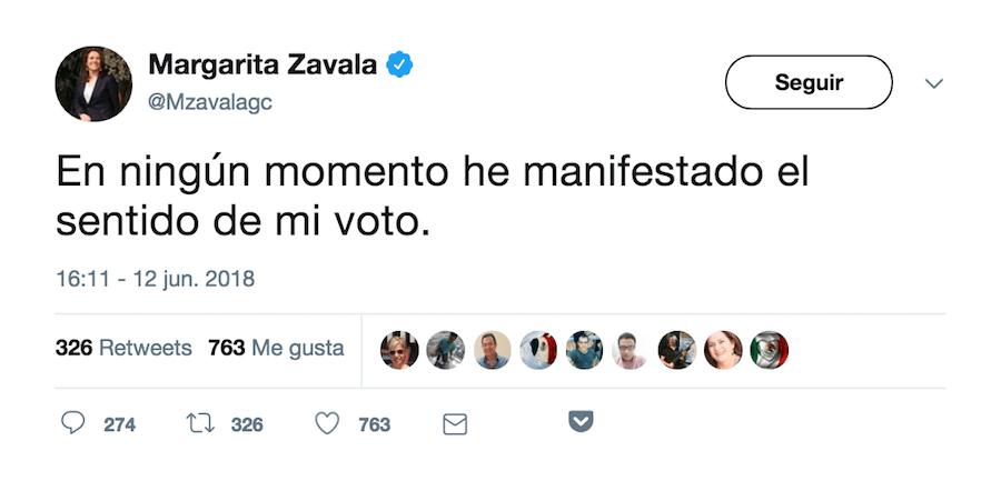 Tuit voto Margarita Zavala