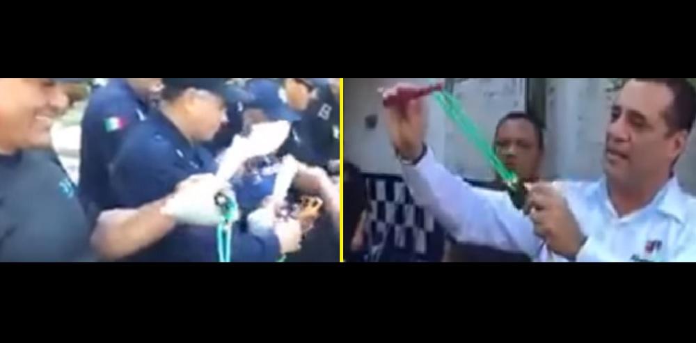 Edil de Albarado, Bogar Ruiz, entrega resorteras a policías
