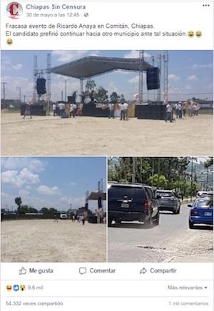 Falso bloqueo anaya evento en Chiapas