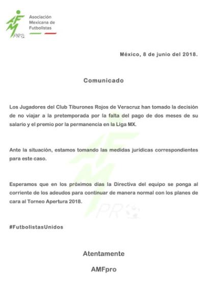 Jugadores del Veracruz no harán pretemporada