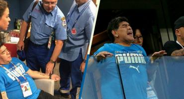 Maradona recibe atención médica después del triunfo de Argentina