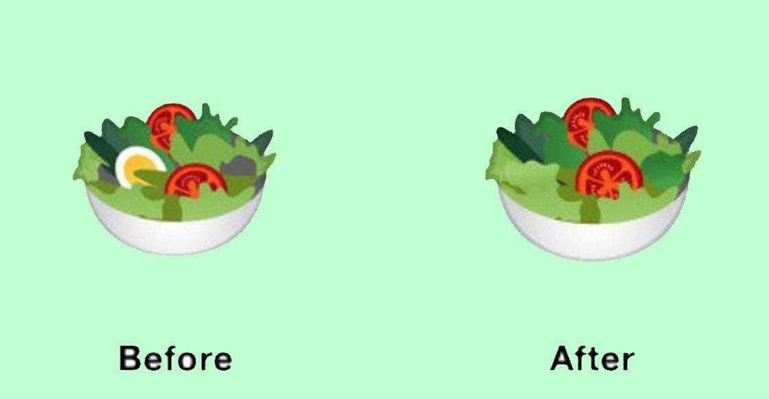 Google quita el huevo en el emoji de ensalada