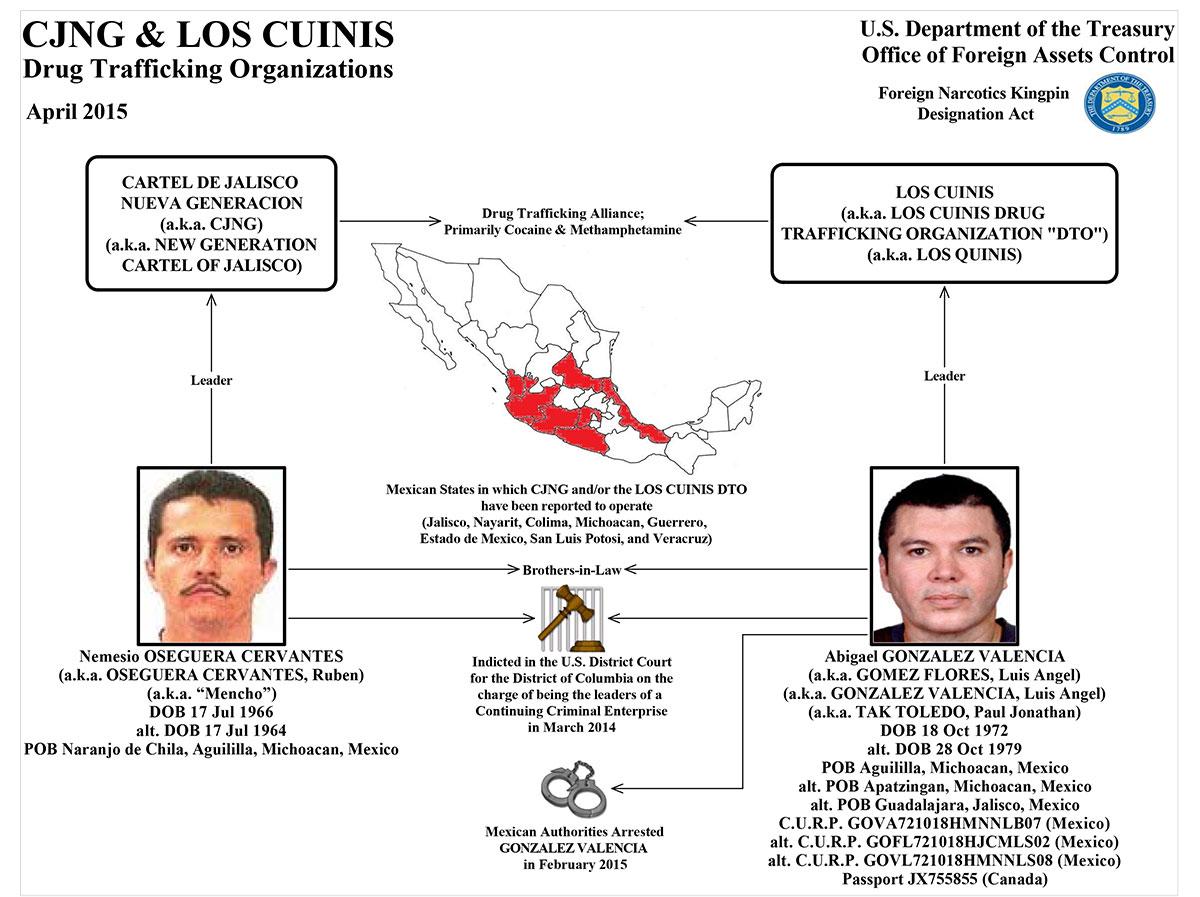 Esquema de operación de Los Cuinis y el CJNG