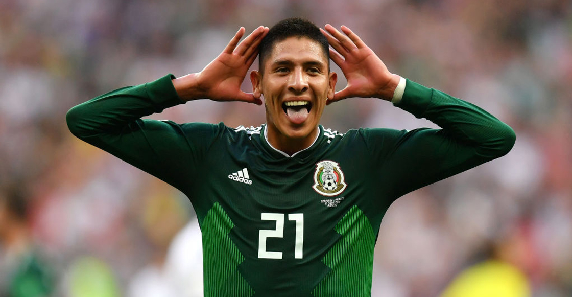 Edson Alvarez festejando el triunfo contra Alemania