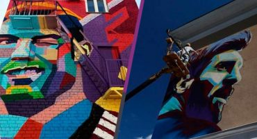 ¡Como jefes! En Kazán lucen murales con rostros de Cristiano Ronaldo y Lionel Messi