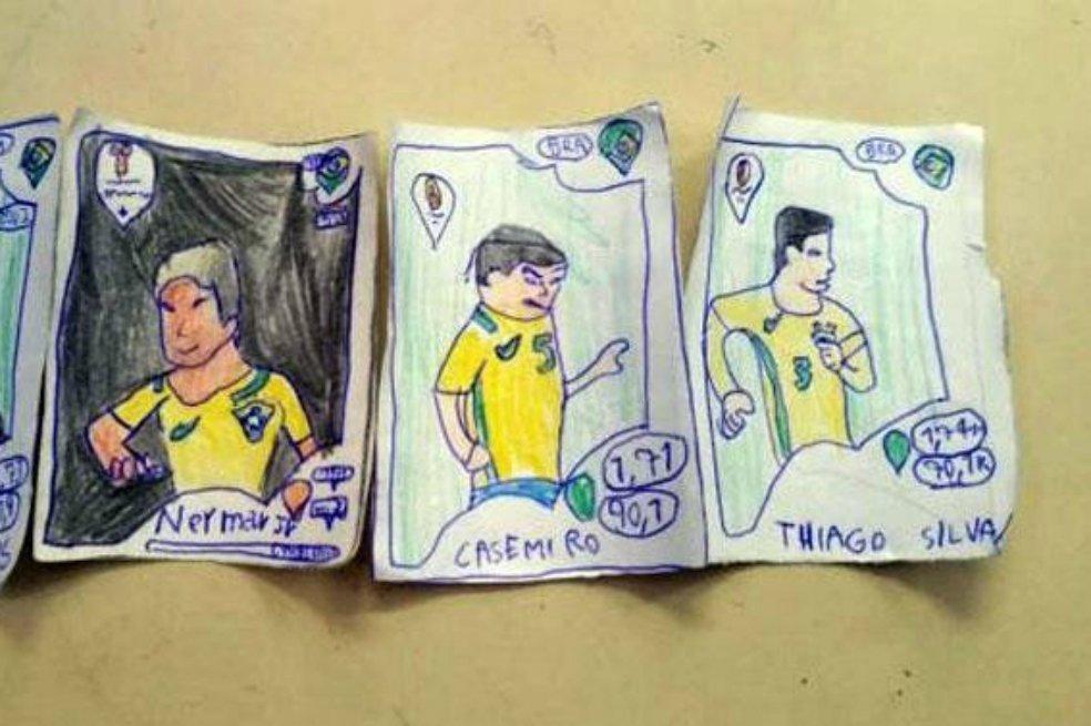 Un niño brasileño no tenía dinero para comprar estampitas del mundial y decidió dibujarlas