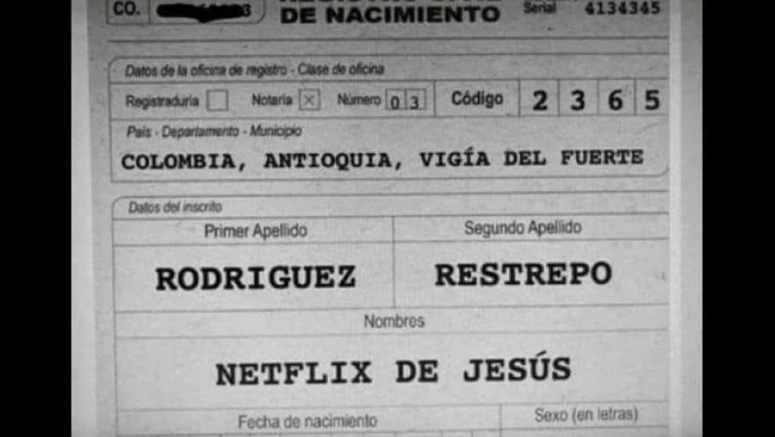 Acta de nacimiento Colombia