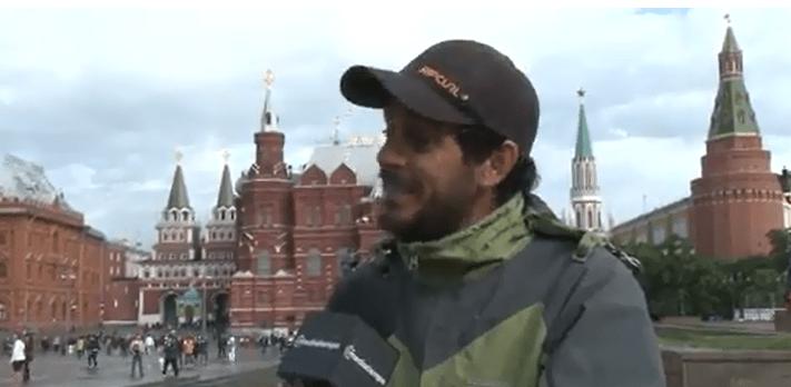 Santiago Reale. argentino que fue a Rusia en bicicleta
