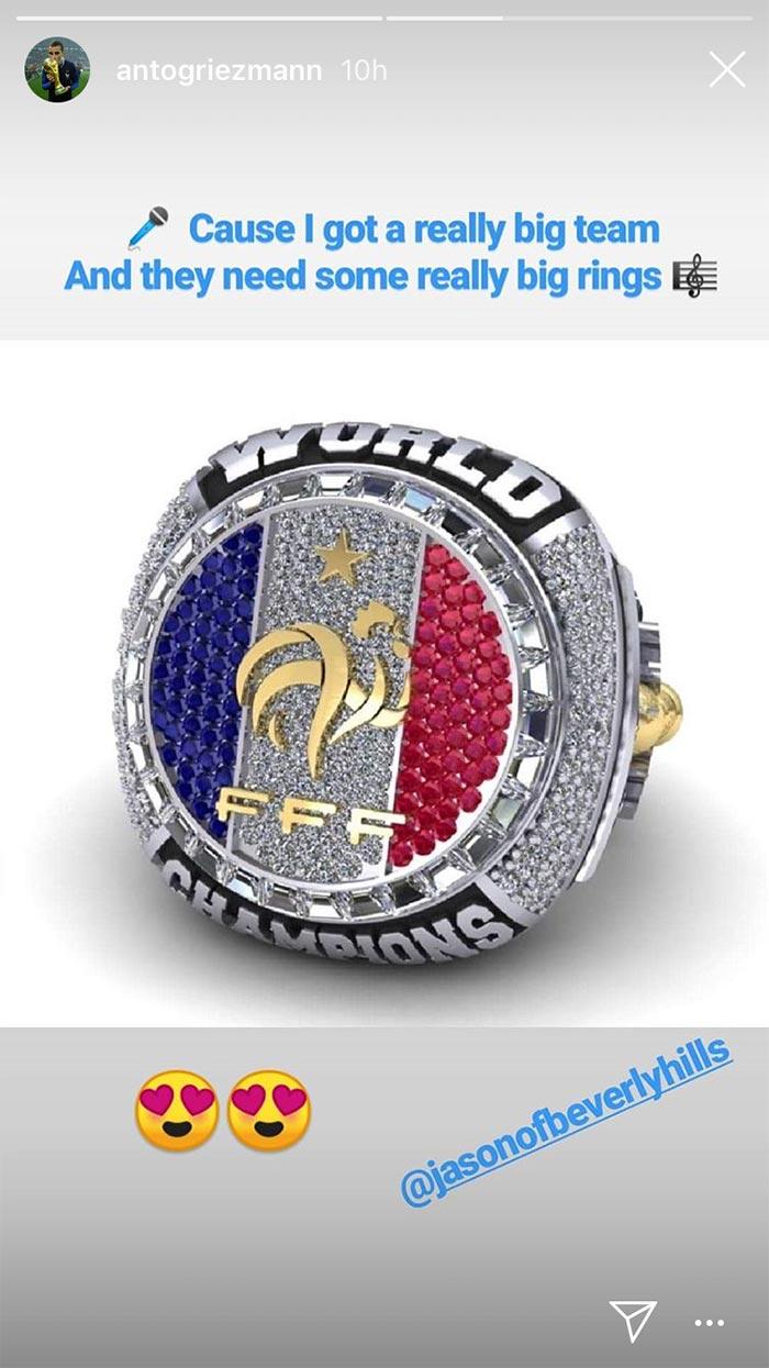 Antoine Griezmann aprueba anillo conmemorativo para Francia Campeón del Mundo