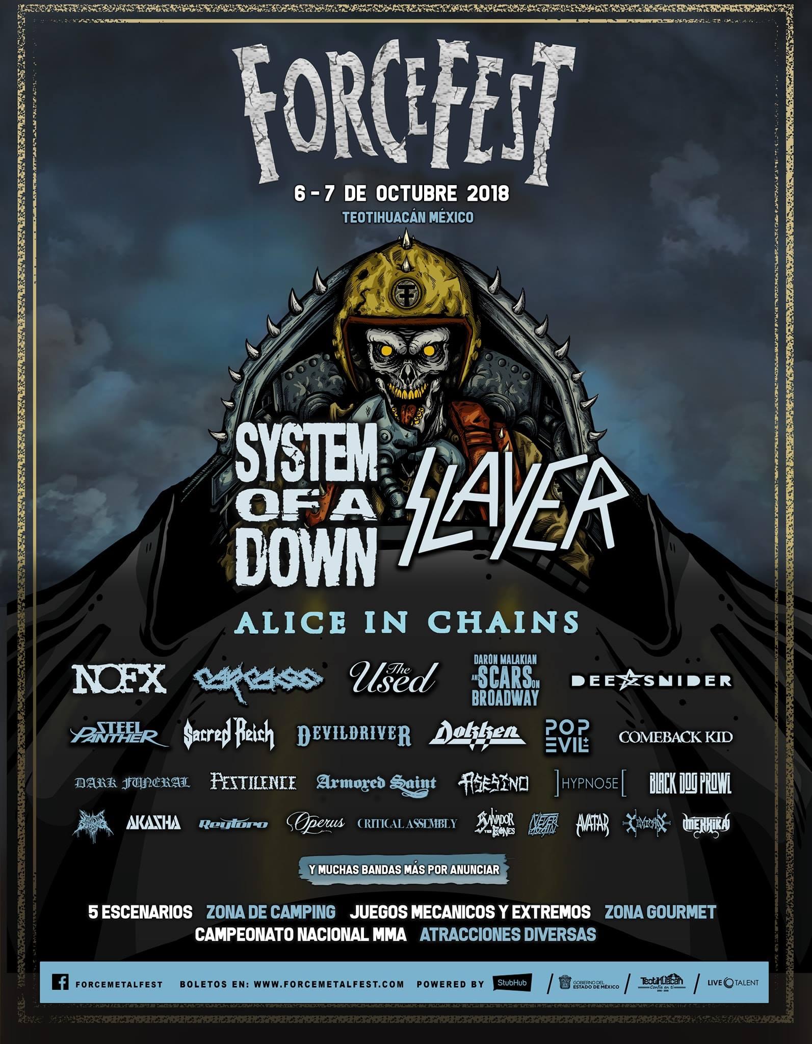 ¡System of a Down, Slayer, Alice In Chains y más en el Force Fest!