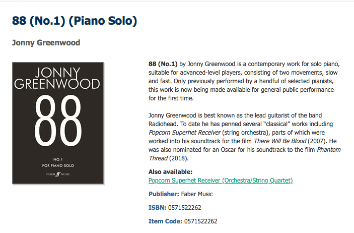 """Jonny Greenwood libera """"88 (No.1)"""", el tema que compuso en 2015"""