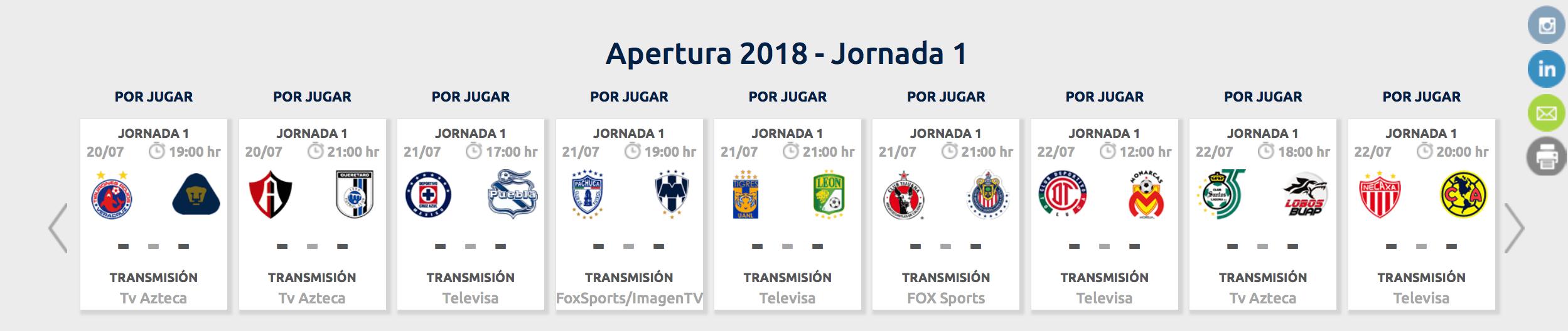 ¿Cómo, cuándo y dónde ver la Jornada 1 del Apertura 2018?