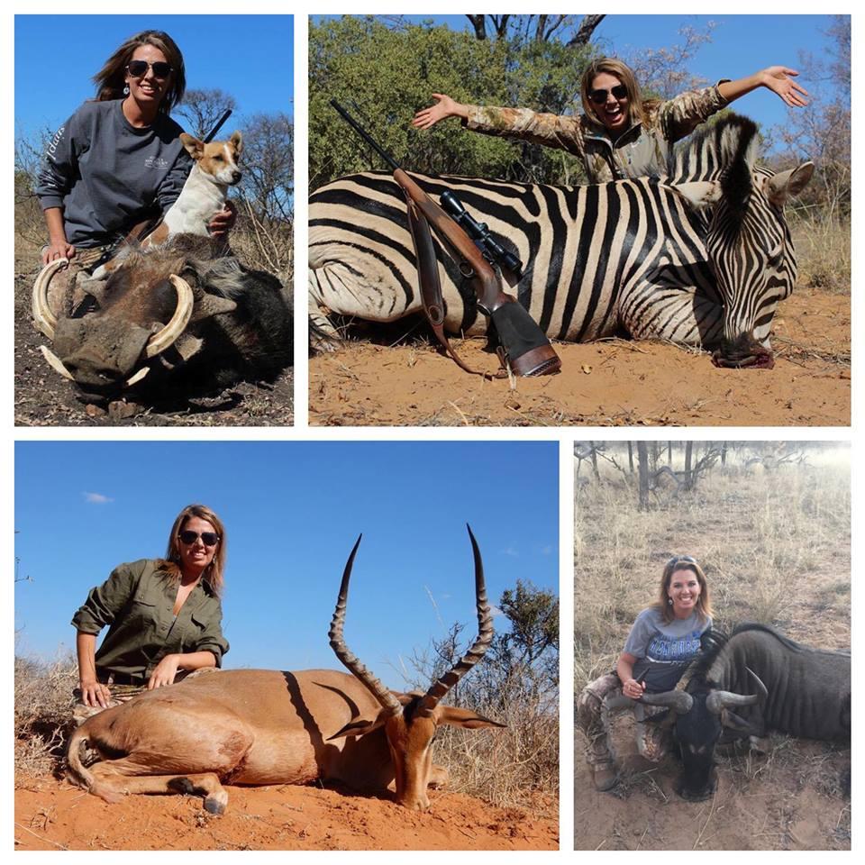 Esta cazadora mató a una jirafa negra y está causando indignación