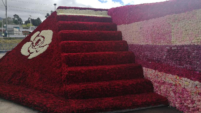 ¡Qué bonito! Ecuador rompió récord con una pirámide ancestral hecha de medio millón de rosas