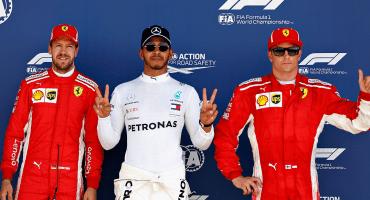 Hamilton gana la pole position en Silverstone, pero tendrá pegaditos a los dos Ferrari