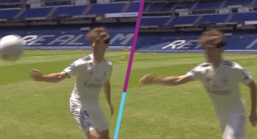 ¡Bolita, por favor! Madrid presenta a Odriozola... y se le cayó el balón