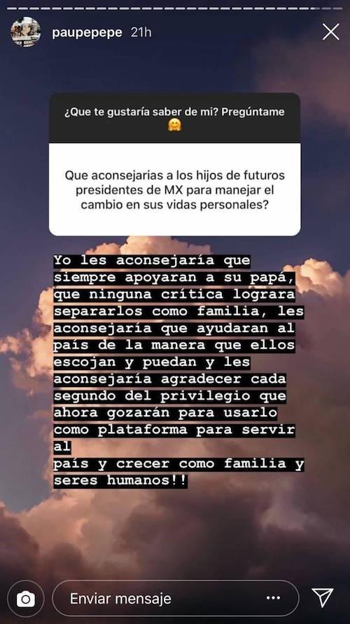 Paulina Peña consejo a hijos de AMLO