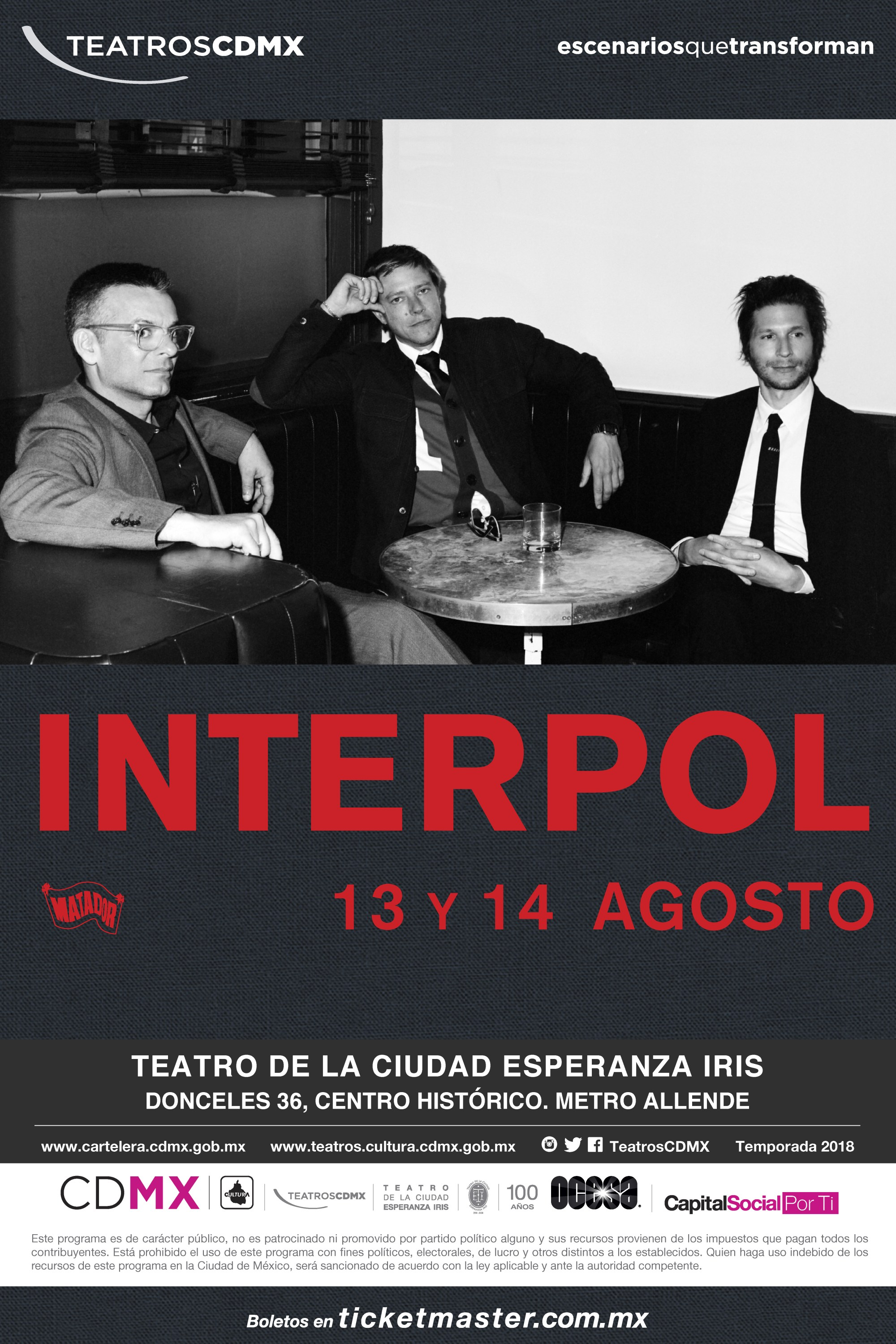 Flyer concierto Interpol