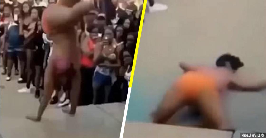 ¡AUCH! Una mujer sufrió una caída de un escenario mientras hacía twerking