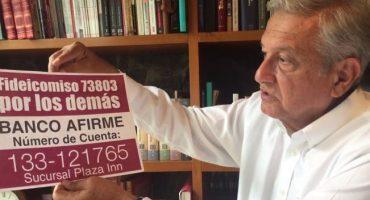 AMLO asegura que, para fideicomiso de damnificados, 500 mil pesos salieron de sus libros