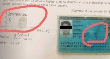 La firma de un hombre de Perú es el dibujo de un gato 🤣🤣🤣
