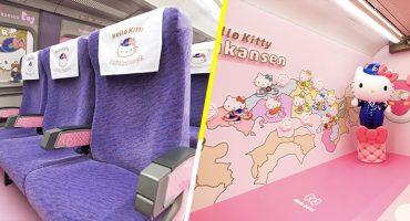 ¡Súbale hay lugares! Así luce el tren rápido de Hello Kitty en Japón