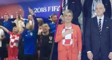 Así festejó la presidenta de Croacia el triunfo de su Selección