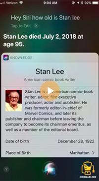 ¡Hey, Siri! Siri le anda diciendo a todos que Stan Lee está muerto