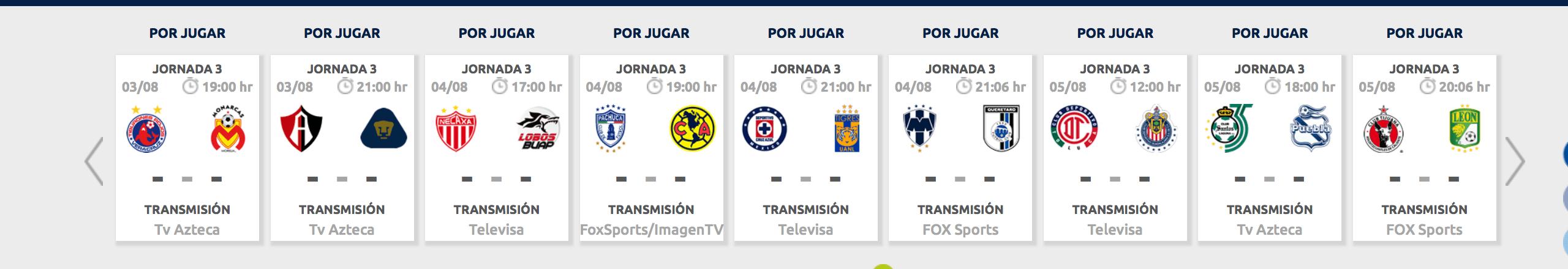 ¿Cómo, cuándo y dónde ver la Jornada 3 del Apertura 2018?