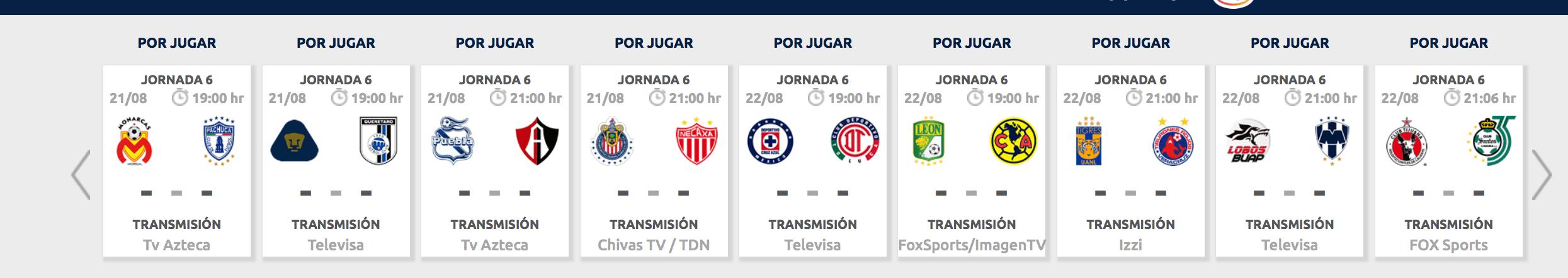 ¿Cómo, cuándo y dónde ver la Jornada 6 del Apertura 2018?