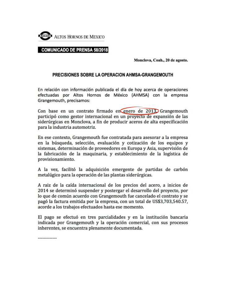 ¡PLOP! AHMSA justifica la relación Odebrecht con una empresa que aún no existía