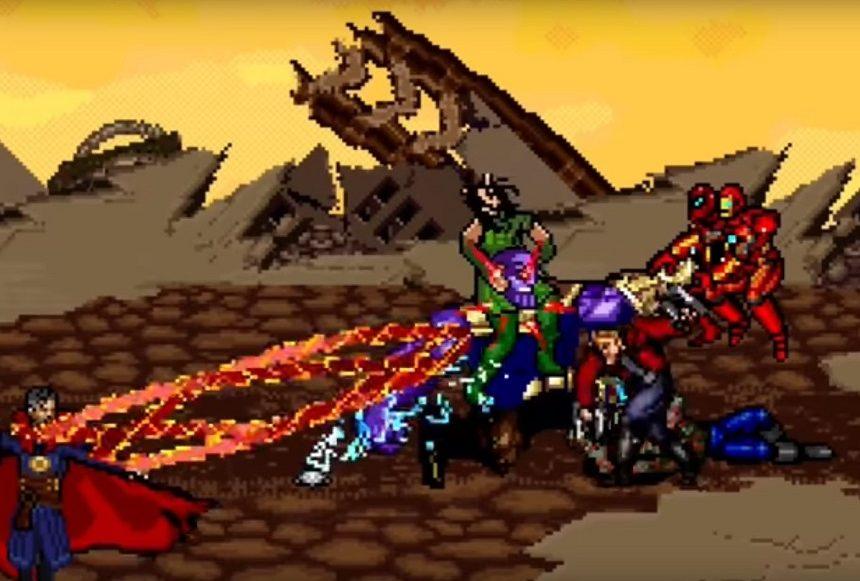 Avengers vs Thanos en 16 bit