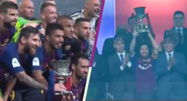 Messi levanta su primer trofeo como capitán del Barcelona en la Supercopa de España
