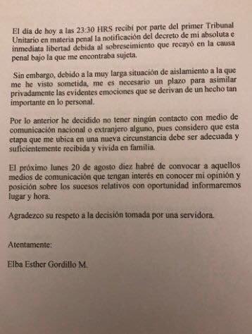 Carta escrita por Elba Esther Gordillo, luego de conocerse su liberación