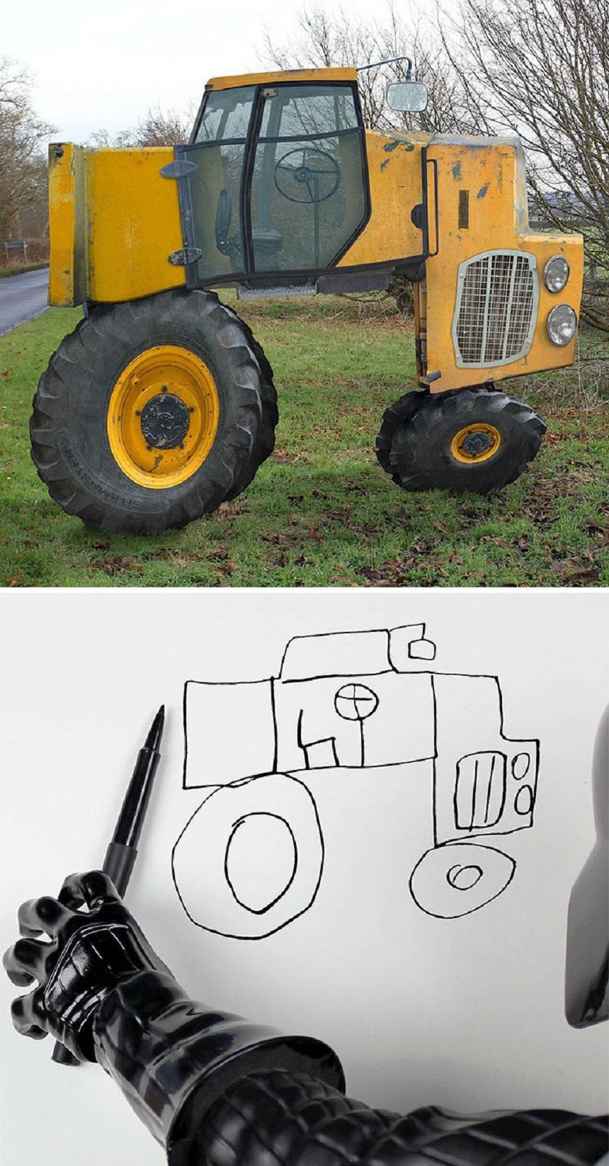 Dibujo de un tractor