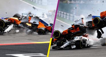 En imágenes: El impactante choque de Fernando Alonso en el GP de Bélgica