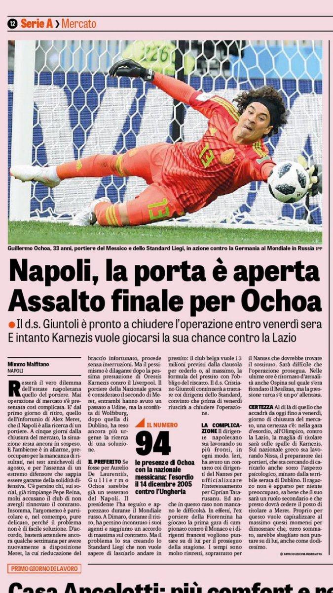 Napoli haría el último intento por Ochoa: La Gazzetta dello Sport