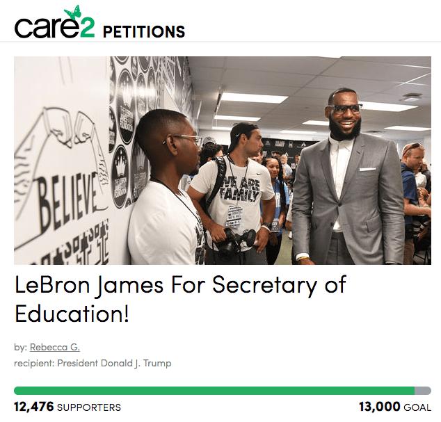 ¿LeBron James para Secretario de Educación de Estados Unidos?