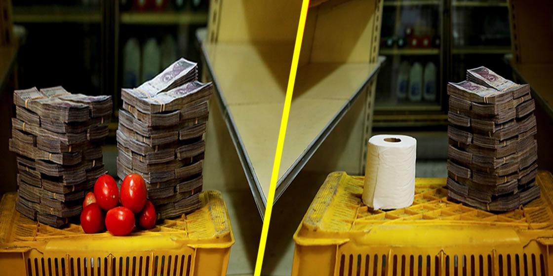 Así se ven los cerros de billetes que pagan los venezolanos a cambio de kilo de alimentos